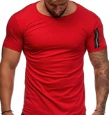 T-shirt Basic | Slim-Fit | Zip Sleeve | Rood | R1W3