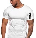 T-shirt Basic | Slim-Fit | Zip Sleeve | Wit | W1W3