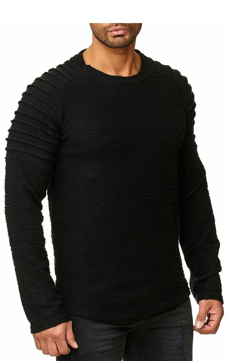 Sweater   Normal-Fit   Ribbed   Zwart   Z16738