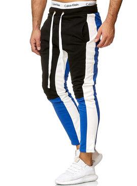Joggingbroek | Streep Wit | Slim-Fit | Zwart Blauw