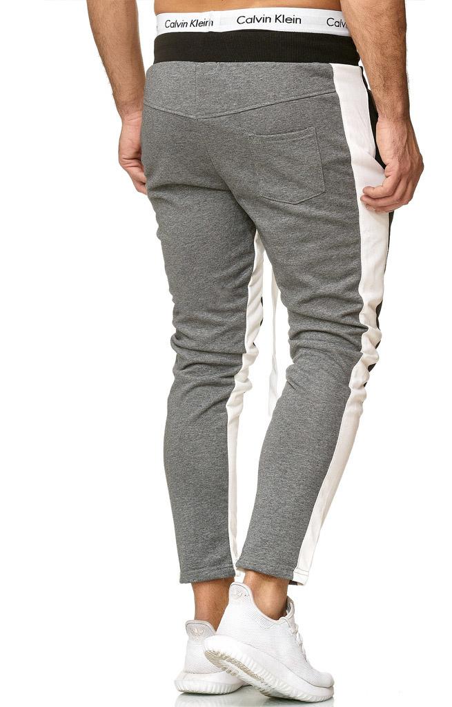Joggingbroek | Streep Wit | Slim-Fit | Zwart grijs