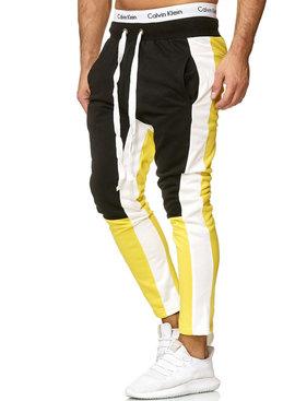 Joggingbroek | Streep Wit | Slim-Fit | Zwart geel