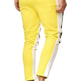 Joggingbroek | Streep Wit | Slim-Fit | Zwart geel