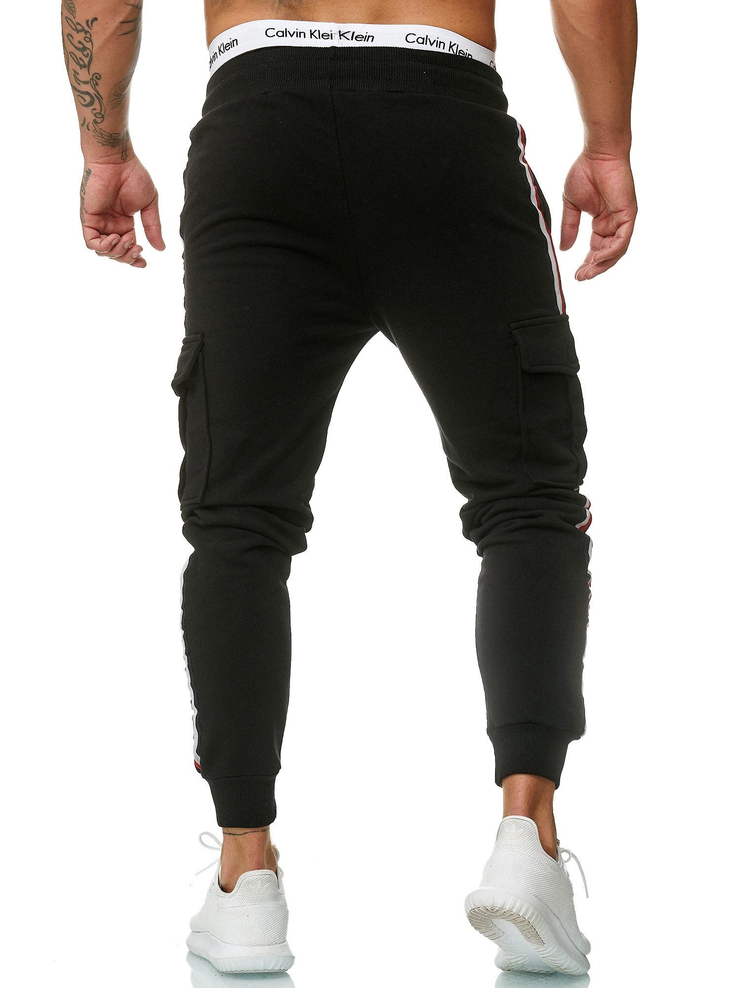 Joggingbroek | Streep Rood Wit | Pocket | Slim-fit | Zwart
