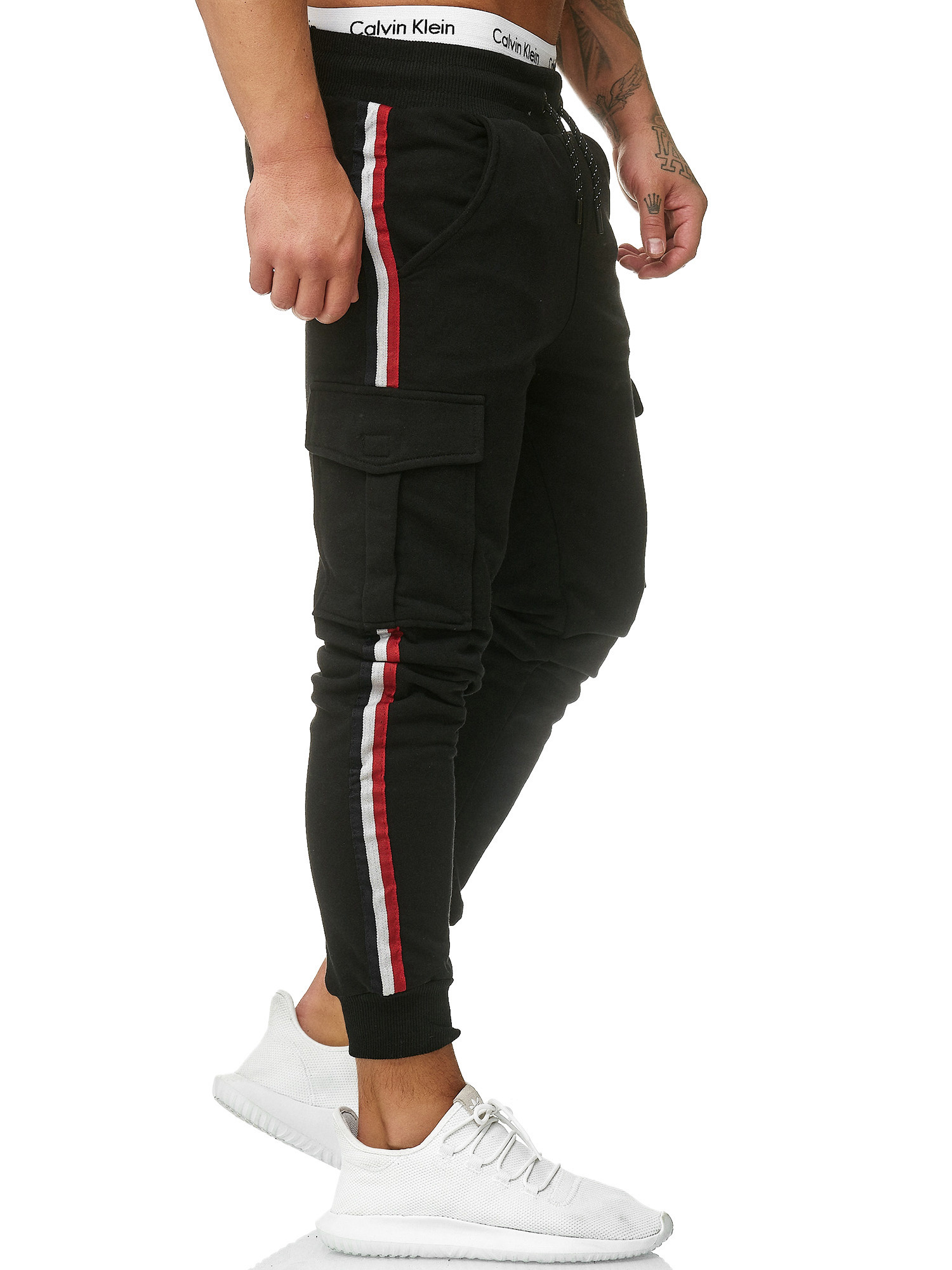 Slim Joggingbroek.Joggingbroek Streep Zijkant Pocket Slim Fit Zwart Streetwearz