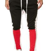 Joggingbroek   Streep Wit   Slim-Fit   Zwart Rood