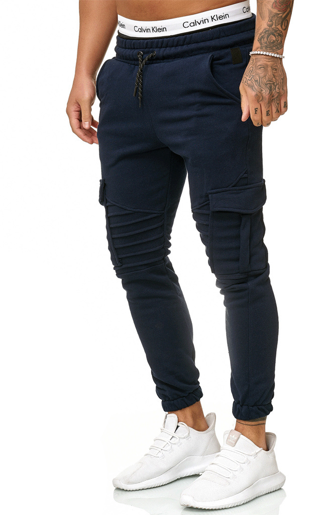 Slim Joggingbroek.Joggingbroek Ribbed Pocker Slim Fit Navy Streetwearz