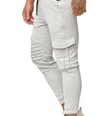 Joggingbroek | Ribbed | Pocker | Slim-Fit | Grijs