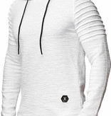 Sweater | Normal-Fit | Ribbed | Wit | Capuchon