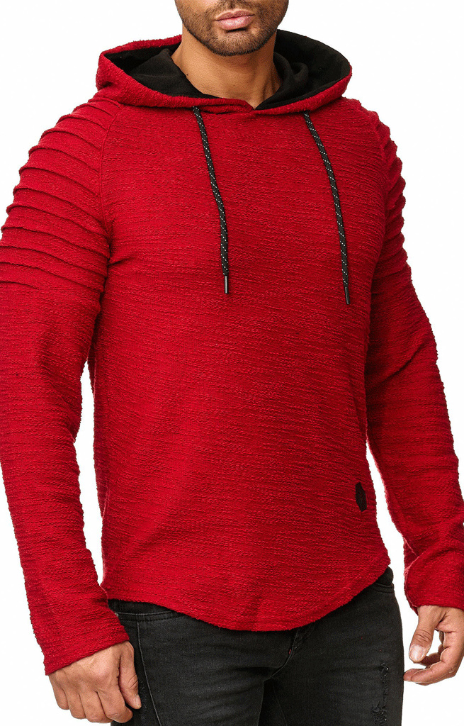 Sweater | Normal-Fit | Ribbed | Rood | Capuchon