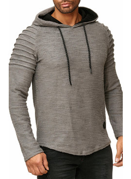 Sweater   Normal-Fit   Ribbed   Grijs   Capuchon