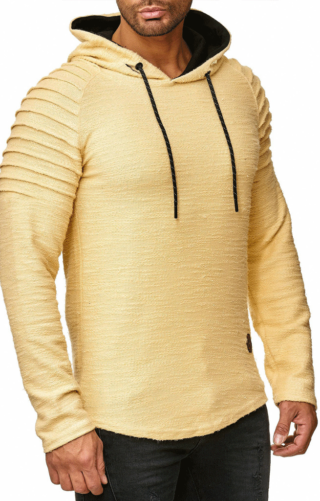 Sweater | Normal-Fit | Ribbed | Geel | Capuchon