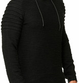 Sweater | Normal-Fit | Ribbed | Zwart | Capuchon