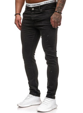 Spotted Jeans Slim Fit Zwart