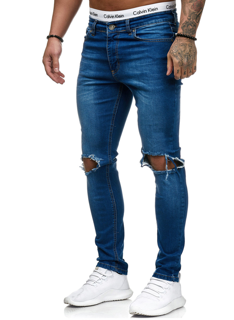 Jeans Ripped Slim Fit Blauw
