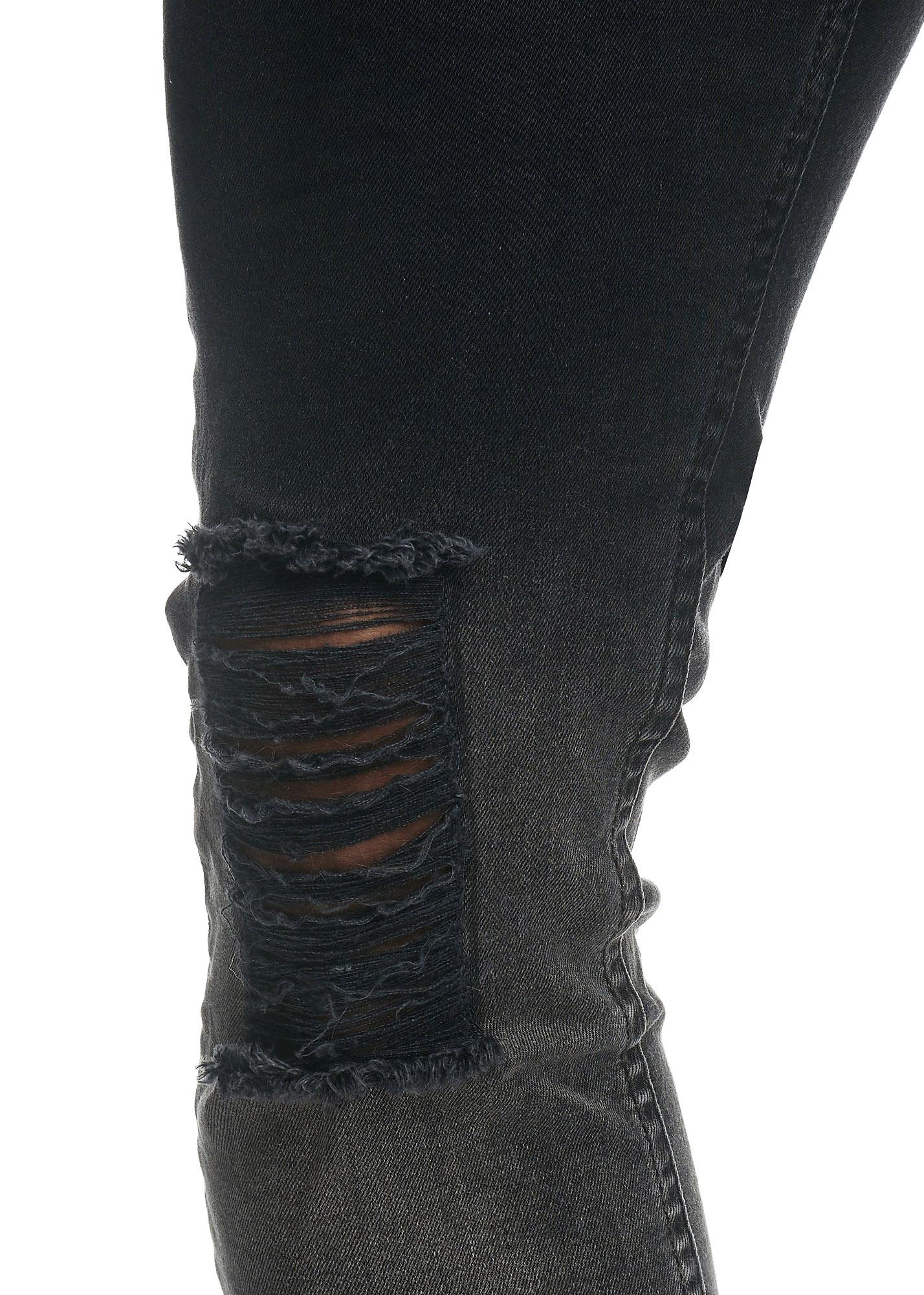 Jeans Faded Ripped Zwart Grijs