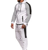 Trainingspak Wit Zwart Ribbel Slim-Fit