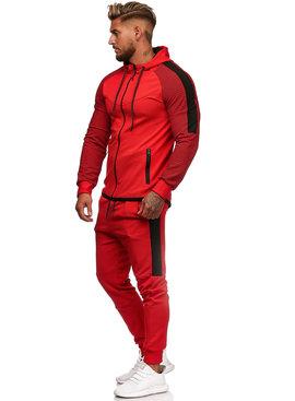 Trainingspak Rood Zwart Ribbel Slim-Fit (M)