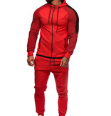 Trainingspak Rood Zwart Ribbel Slim-Fit