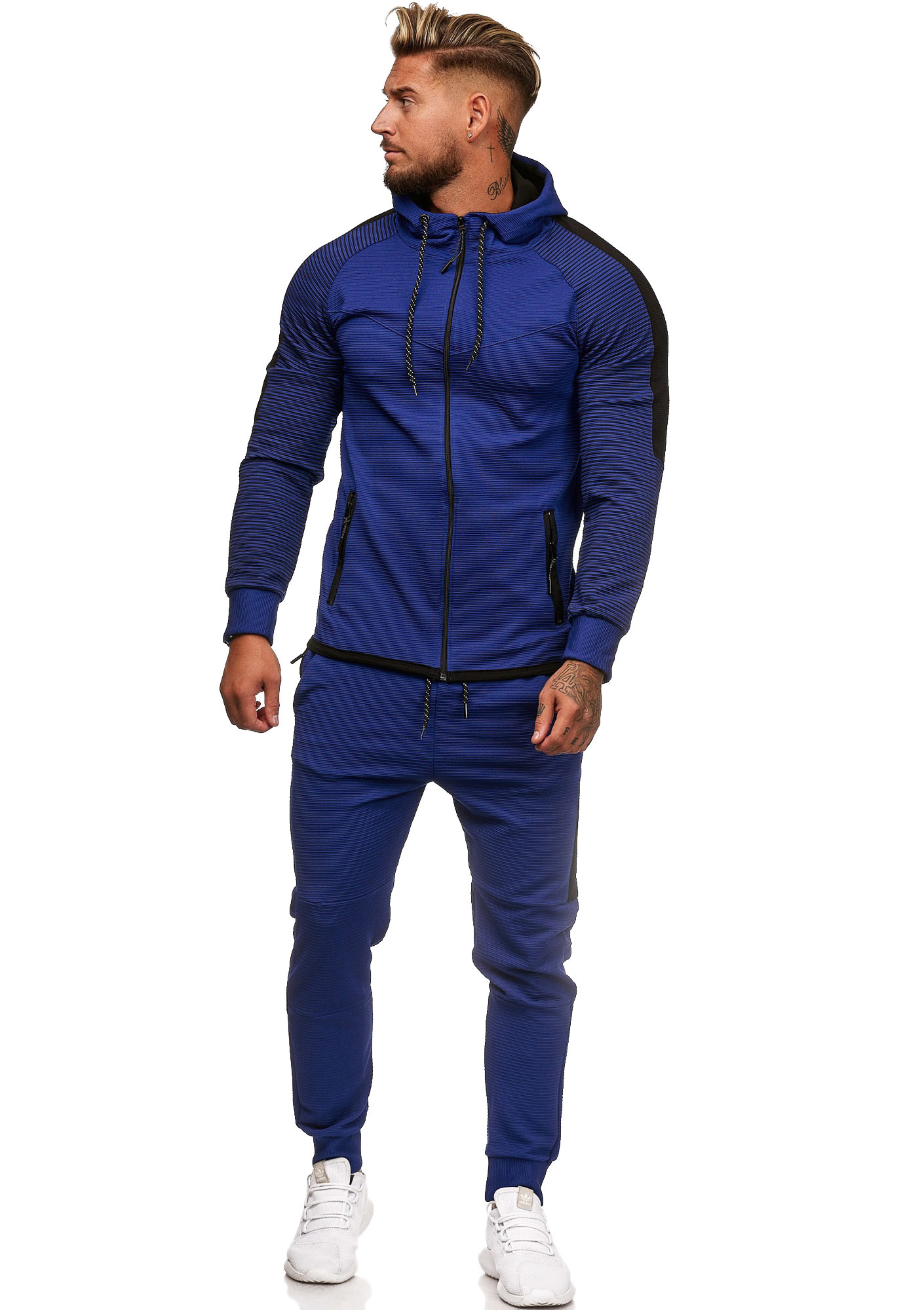Trainingspak Blauw Zwart Ribbel Slim-Fit