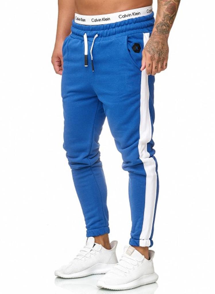 Joggingbroek | Streep | Slim-Fit | Blauw Wit