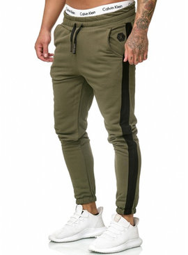 Joggingbroek | Streep | Slim-Fit | Groen Zwart