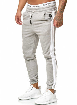 Joggingbroek | Streep | Slim-Fit | Grijs Wit