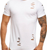 T-shirt Ripped Slim Fit Wit WR9080
