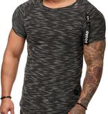 T-shirt Ribbed Zip Sleeve Blauw BLW1