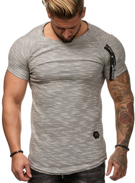 T-shirt Ribbed Zip Sleeve Grijs GW1