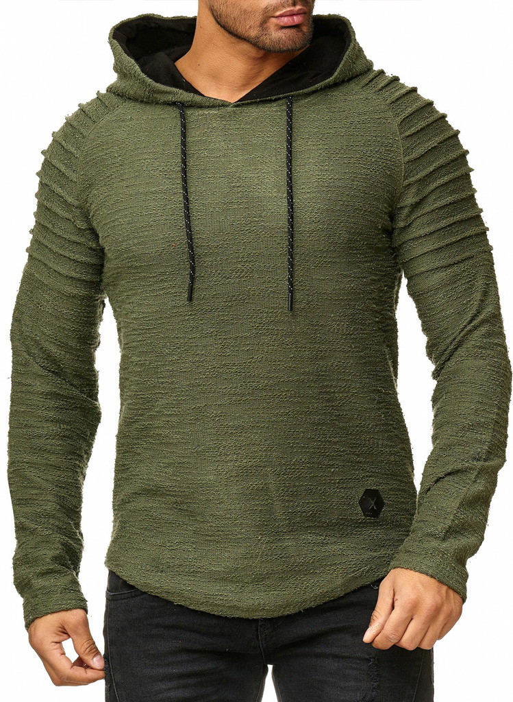 Sweater | Normal-Fit | Ribbed | Groen | Capuchon