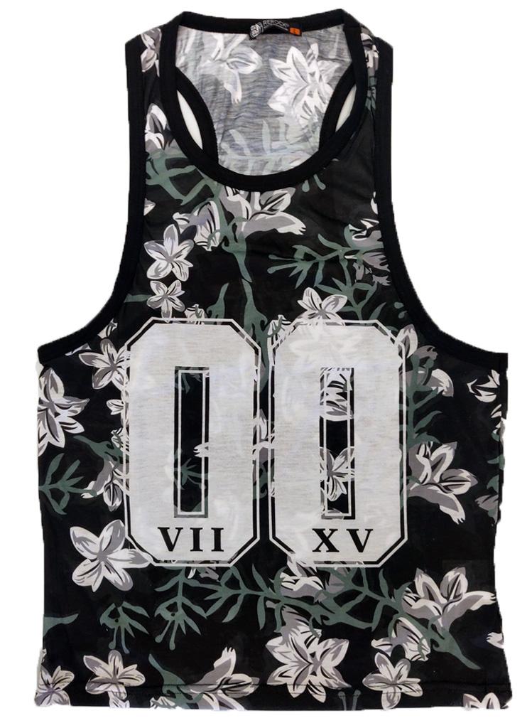 ReRock Tank Top Flowers 00 Black