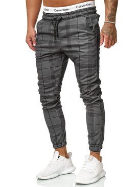 Joggingbroek | Geblokt | Slim-Fit | Grijs (M)