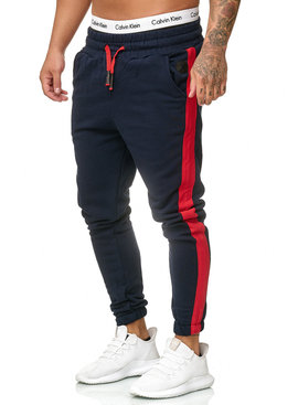 Joggingbroek | Streep | Slim-Fit | Navy Rood