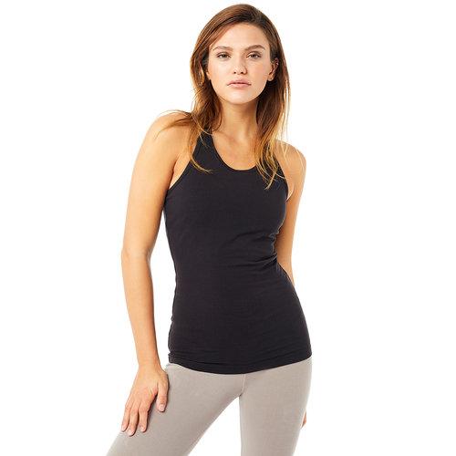 Mandala Fashion Extra Long Yoga Top in der Farbe Schwarz