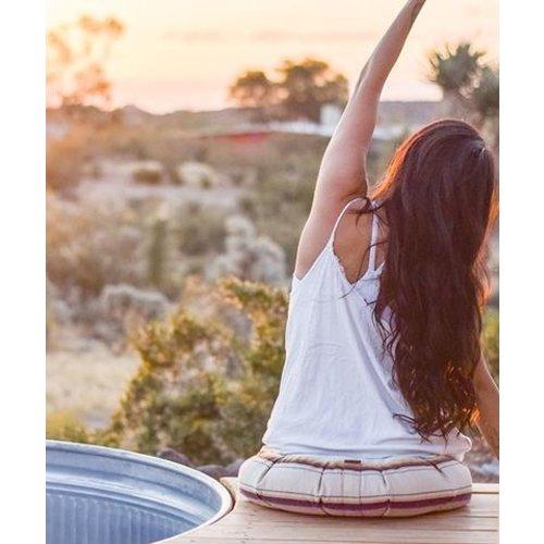 Halfmoon Yoga Zafu Meditationskissen Rund in der Farbe Naturla Leinen