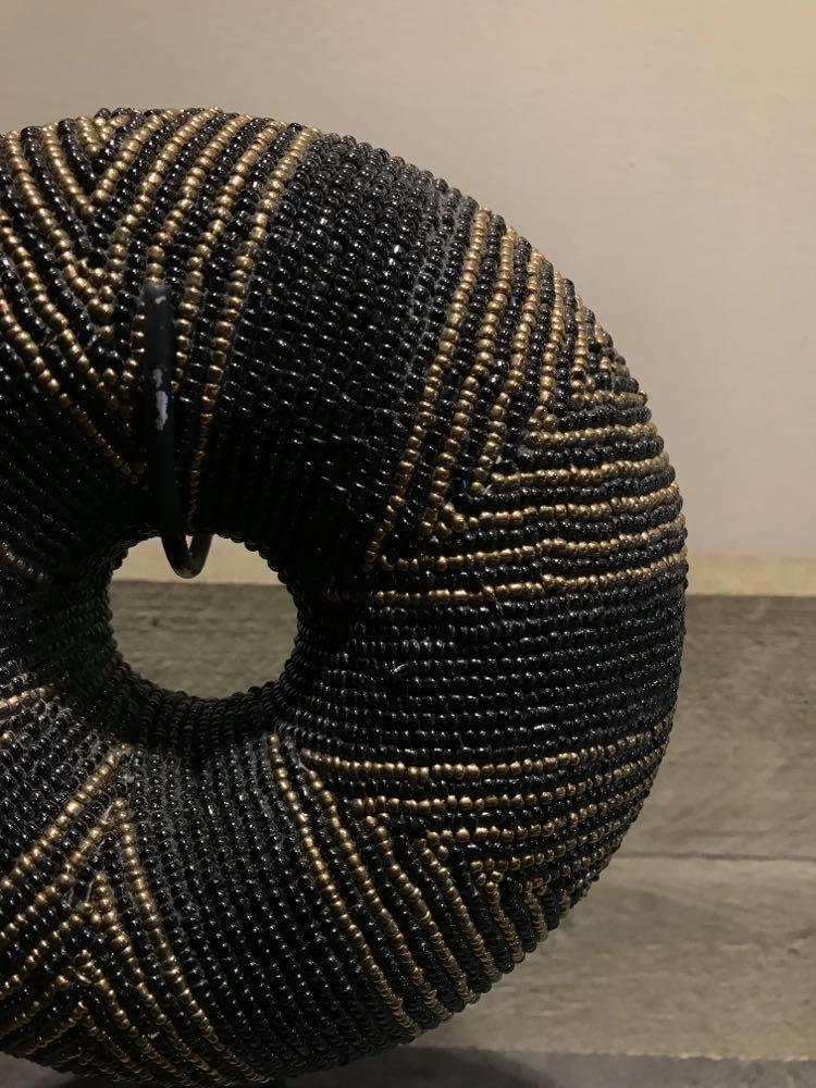 Kralen armband goud/zwart klein