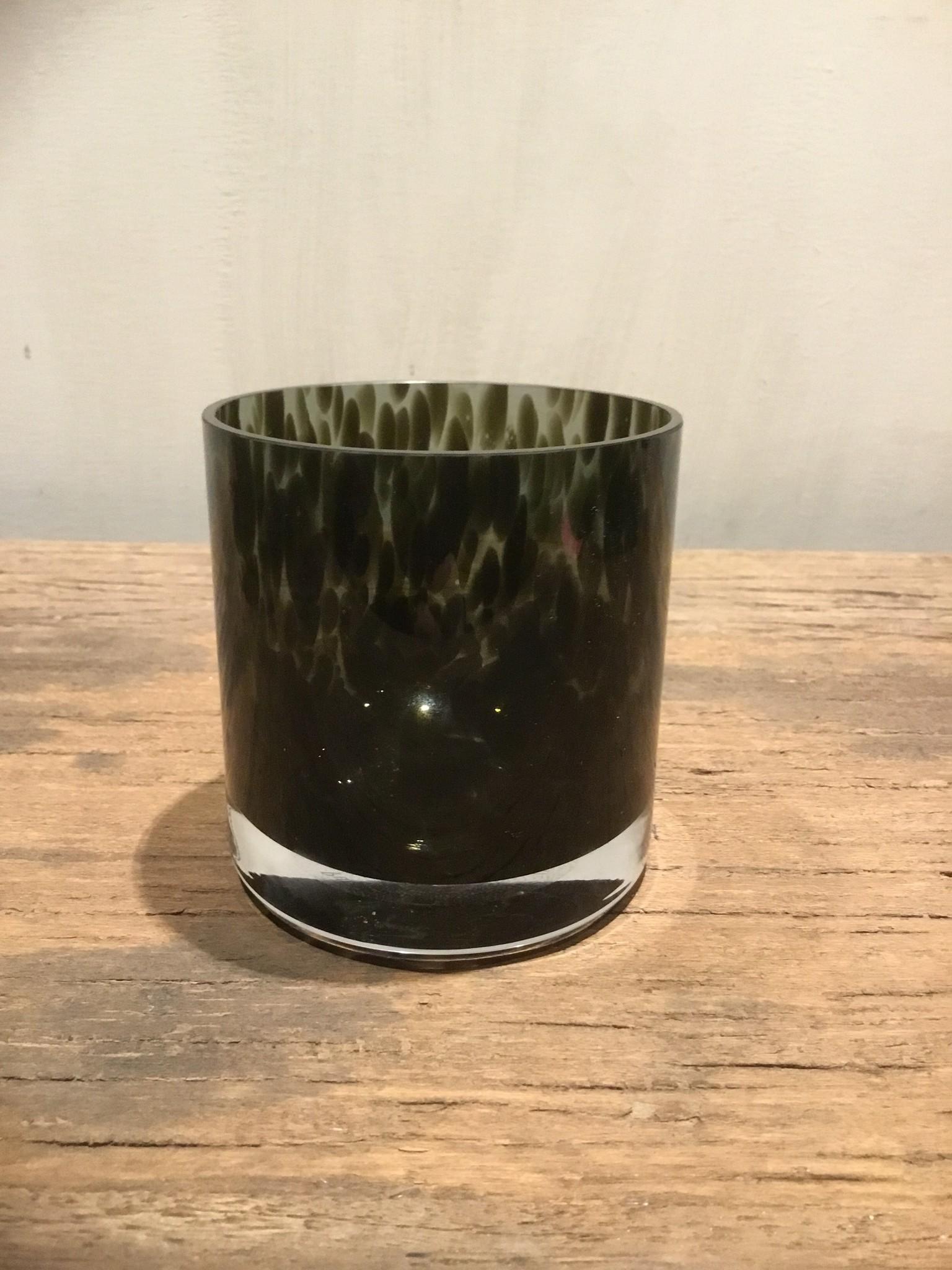 Waxinelichthouder bruin/groen klein