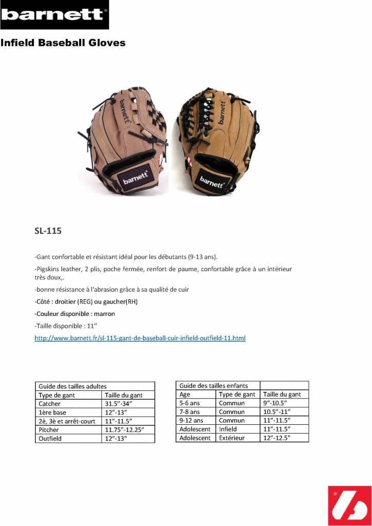 "SL-115 Guantone da baseball, pelle, infield/outfield, 11,5"", marrone"