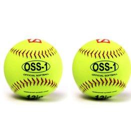 OSS-1 Palla da softball allenamento, 12'', giallo, 2 pz