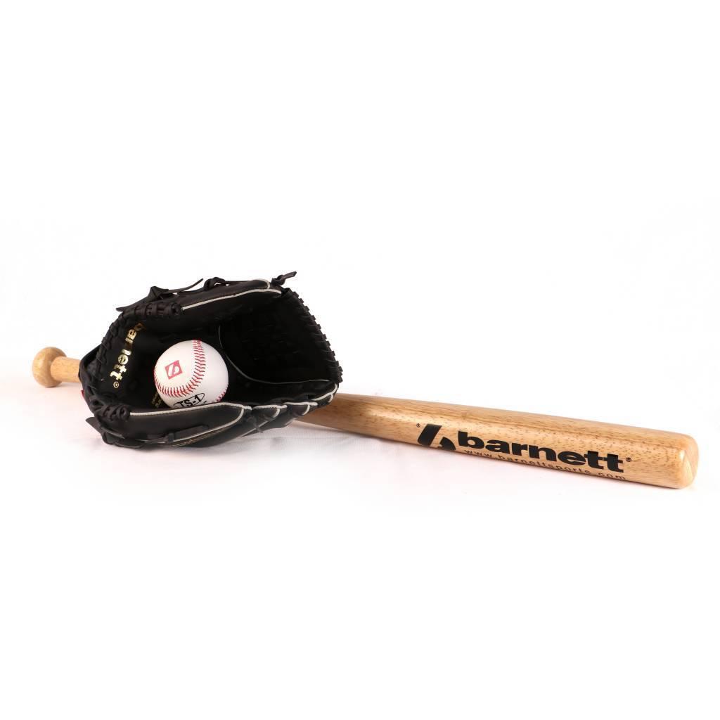 BGBW-3 Set da baseball principianti, youth - Mazza in legno, guantone, palla (BB-W 25'', JL-102 10,25'', TS-1 9'')