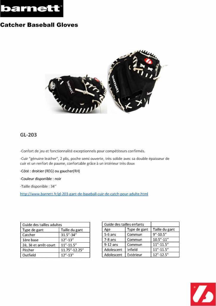 "barnett GL-203 Guante de beisbol, cuero, catcher, adulto 34"", negro"