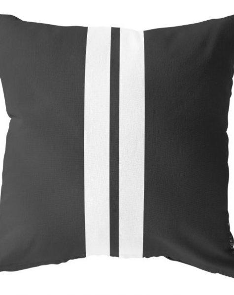 Outdoor kussen, zwart met twee witte strepen