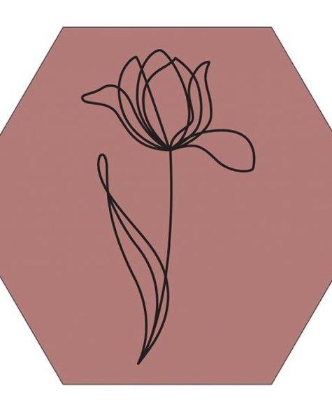 Muur hexagon tulp online rose