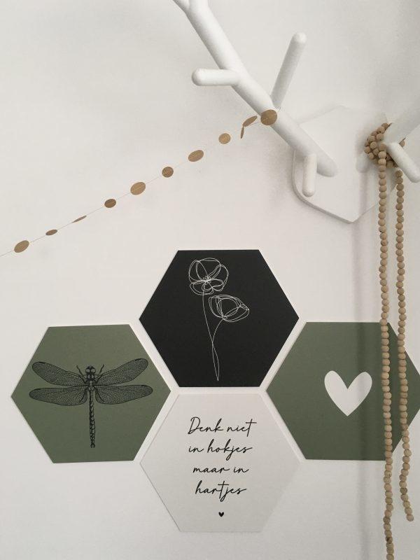 Hexagon geniet olijfgroen