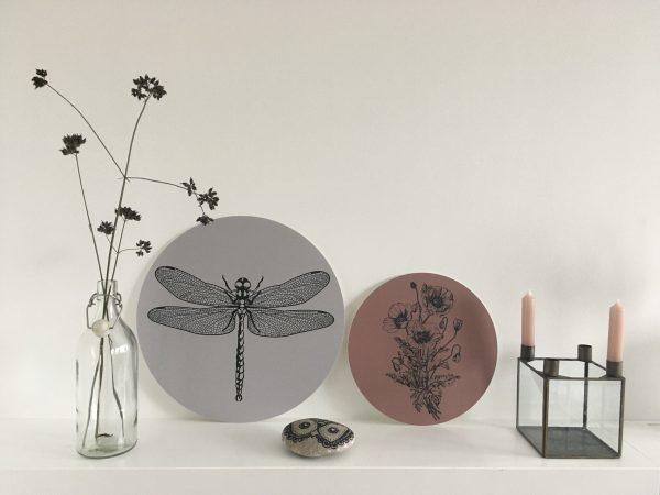 Label-R Muurcirkel libelle olijfgroen