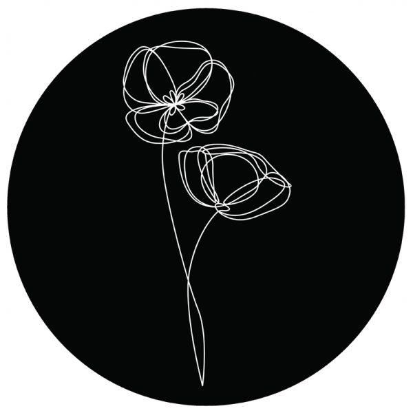 Muurcirkel zwart/wit viooltje