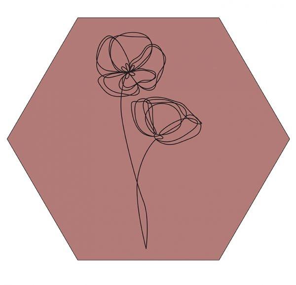 Hexagon viooltje oud rose