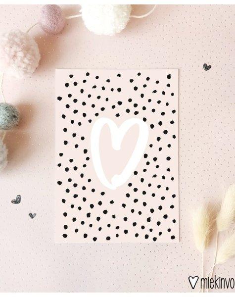 Miekinvorm Kaart Hart met dots