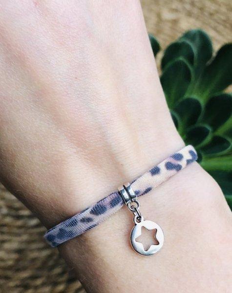 lieflabel Armbandje Leopard Brown Big star zilver